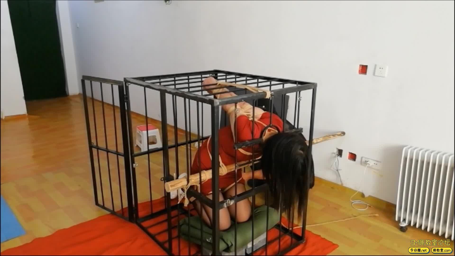 飞天原创 以绳会友,奴性十足的M体验残酷的笼子直臂跪立吊缚-视频截图6